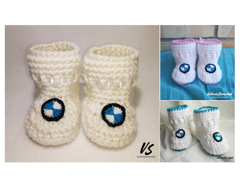 BMW BABY BOOTIES crochet preemie newborn baby girl baby boy