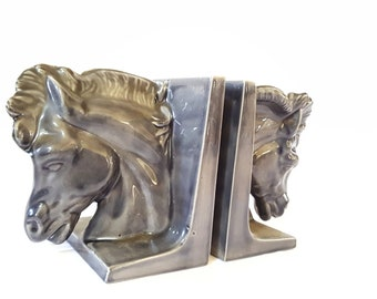 Vintage Horsehead Bookends ~ Grey Glazed Ceramic Horse Head Bookends ~ Equestrian Decor / Bookshelf Decor / Library Home Decor