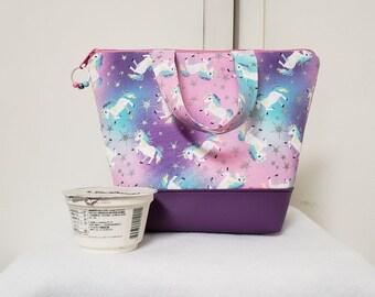 Unicorn Lunch Bag, Vinyl Bottom, Unicorns, Kids Insulated Lunch Box, Lunch Box with Unicorns, Nylon Lining with Zipper Pocket, Washable.
