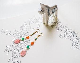 Multi-colour-gemstone-beaded-dangle earrings-gold-cherry quartz-green onyx-carnelian-turquoise
