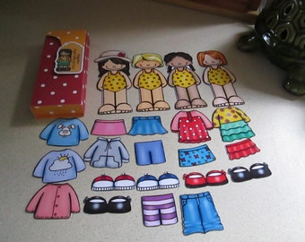 Four Magnetic Paper Dolls with Outfits set of 10 with Free Shipping