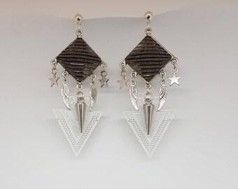 Grey sequin star wings Stud Earrings