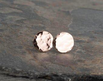 Rose Gold Stud Earrings, Minimalist Earrings, Full Hammered Earrings, Disc Earrings Dot Earrings, Dainty Earrings, Stud Earrings Handmade