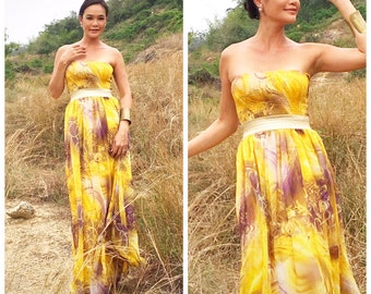 Bridesmaid Yellow floral  gold sash chiffon Strapless evening long maxi dress fits S M L XL