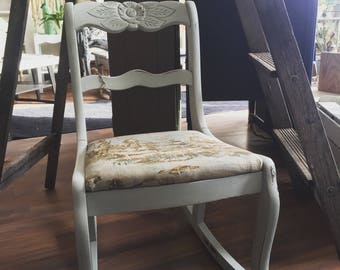 CHAIR IS SOLD!, Vintage Sewing Rocker restyled with New French Toile fabric