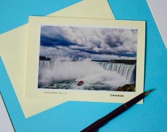 Niagara Falls, Canada, Ontario, Blank Card, Thank you Note, Thank you Card, Stationery, Travel, Boat, North America, Niagara, Fall, USA