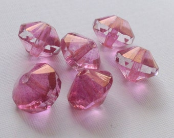 Pink Glass Saucer Beads - Czech glass beads -  pink luster 13x9mm pack of 6