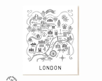 London City Map Art Print - Black & White
