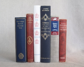 Vintage Red, White, Blue and Gray Decorative Books Set, Book Collection, Stack of Books, Wedding Centerpiece, Home Staging, Book Bundle