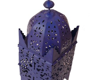 Moroccan lantern from Iron Marrakech hand forged 40 cm, Majorelle Blue