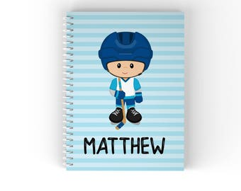 Personalized Notebook - Hockey Player Boy Blue Stripes Stick Puck with Name, Customized Spiral Notebook Back to School