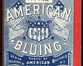 Vintage Label, American Bluing Cleaning Solution of Buffalo New York
