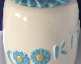 Vintage ABINGDON USA 1940's Cookie Jar Blue Yellow Sunflower #677