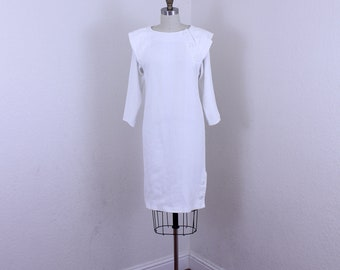 1980s White Long Sleeves Dress