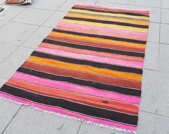 unique kilim rug, kilim runner rug, black Kilim rug, Turkish kilim, Anatolian kilim, 473