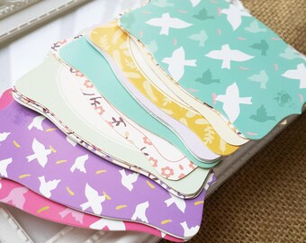 Gift paper cards - 18pcs colorful with dove, flower and feather patterns (Pastel color collection)