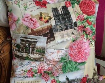 Chic retro Paris pillow cover