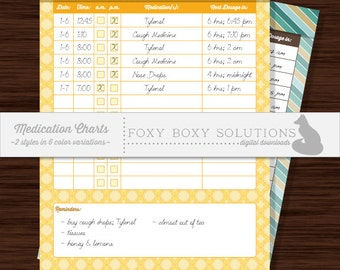 Medication Charts - 2 Different Styles in 6 Colors/Patterns; Printable Medication Tracker Charts, Instant Download, PDF & JPG