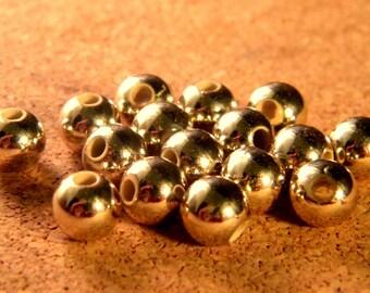50 beads plated gold acrylic KC - 8 mm - golden light - PE87