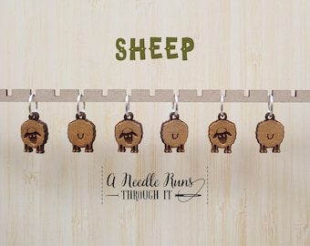 Little Sheep front and back stitch marker set, sock knitter, knitter gift, snag free stitch markers, right side, wrong side markers