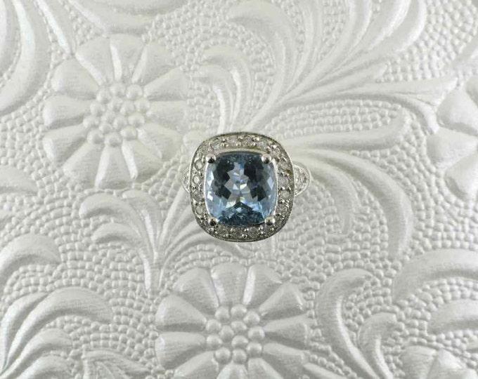 Aquamarine and Diamond Cocktail Ring, Early Halo Ring, White Gold Aqua Ring, 14 Karat White Gold Ring, Statement Ring