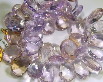 AAA Ametrine Gemstone.  Faceted Pear Briolette. 14mm. Semi Precious Gemstone Briolette. (o6amt)
