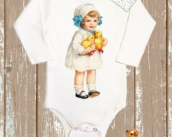 Easter Onesie. Easter Girl with Baby Chicks. Baby Easter Gift. Cute Retro Layette. Baby's First Easter.