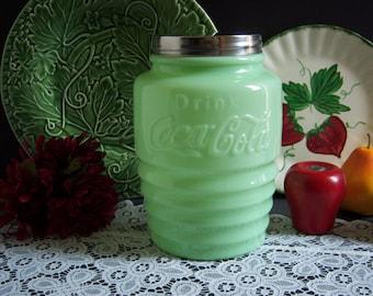 "Jadeite ""Coca Cola"" Cookie Jar - Jadeite Cookie Jar - Coca Cola - Green Milk Glass - Milk Glass Cookie Jar - Vintage Kitchen - Cookie Jar"