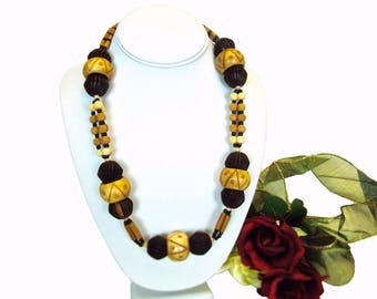 BOHO Bulky Dark & Natural Carved Wood Bead Single Strand Necklace