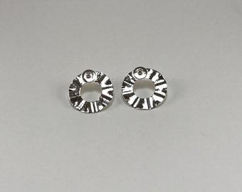Argentium Silver Organic Disc Post Hoop Earrings