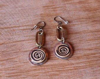 Spunky and spiral mixed metal earrings