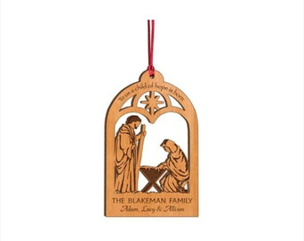 Personalized Wood Christmas Ornament - To Us A Child Of Hope Is Born Nativity Ornament - Custom Engraved Ornament - Heirloom Ornament