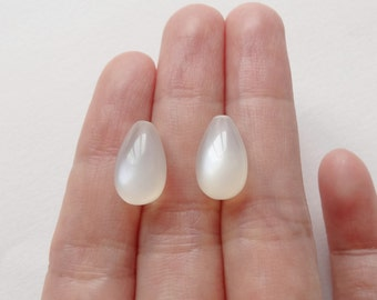 AAA Grade Glowy White Moonstone Half Top Drilled SMOOTH 8x13 mm Drops One Pair F2989