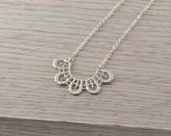 Lace trim sterling silver necklace