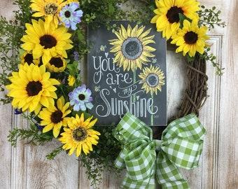 You Are My Sunshine Sunflower wreath
