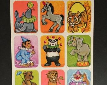 Vintage very rare paper circus animal stickers