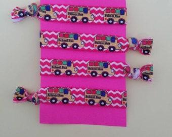 Set of 4 School bus elastic hair ties