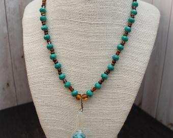 Turquoise and Amber Boho Beaded Necklace Boho Jewelry Hippie Jewelry Handmade Boho Hippie Necklace Bohemian Beaded Jewelry Pendant Necklace