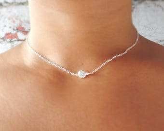Sterling Silver Choker - Cubic Zirconia - Choker Necklace - Crystal Choker - Dainty Necklace - Silver Choker - Chain Choker - Gift for Her