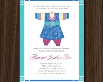 DIGITAL FILE Korean Hanbok Boy 5x7 DIY Invitation by MayDetails