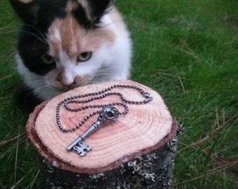 Cat Skull Key Pendant