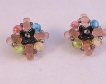Glass bead clip on earrings Made in Germany