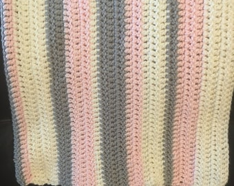 Soft Pink and Grey Striped Baby Blanket
