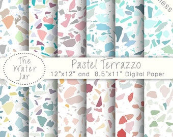 Seamless Terrazzo Digital Paper Pack In Pastel Designs Tile Patterns