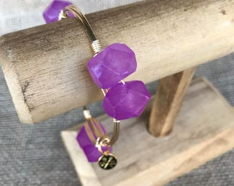 Purple Jade Nugget Bangle Bracelet