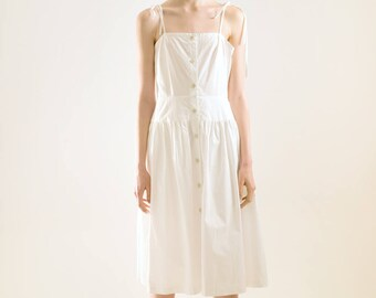 Simple white midi button spaghetti strap dress, beach dress women