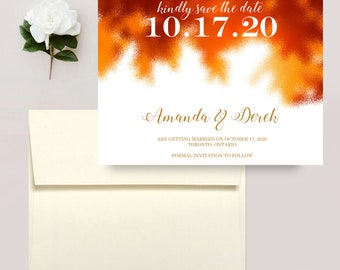 Fall Wedding Save the Date Magnets, Autumn Save the Dates, Fall Leaves Wedding Postcards, Magnet Save the Dates - Envelopes Included