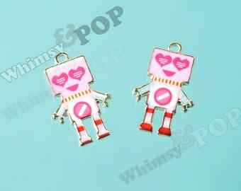 1 - Gold Tone Retro Pink Love Robot Nerd Geek Love Robot Charms, Robot Charm, 22mm x 14mm (3-2E)