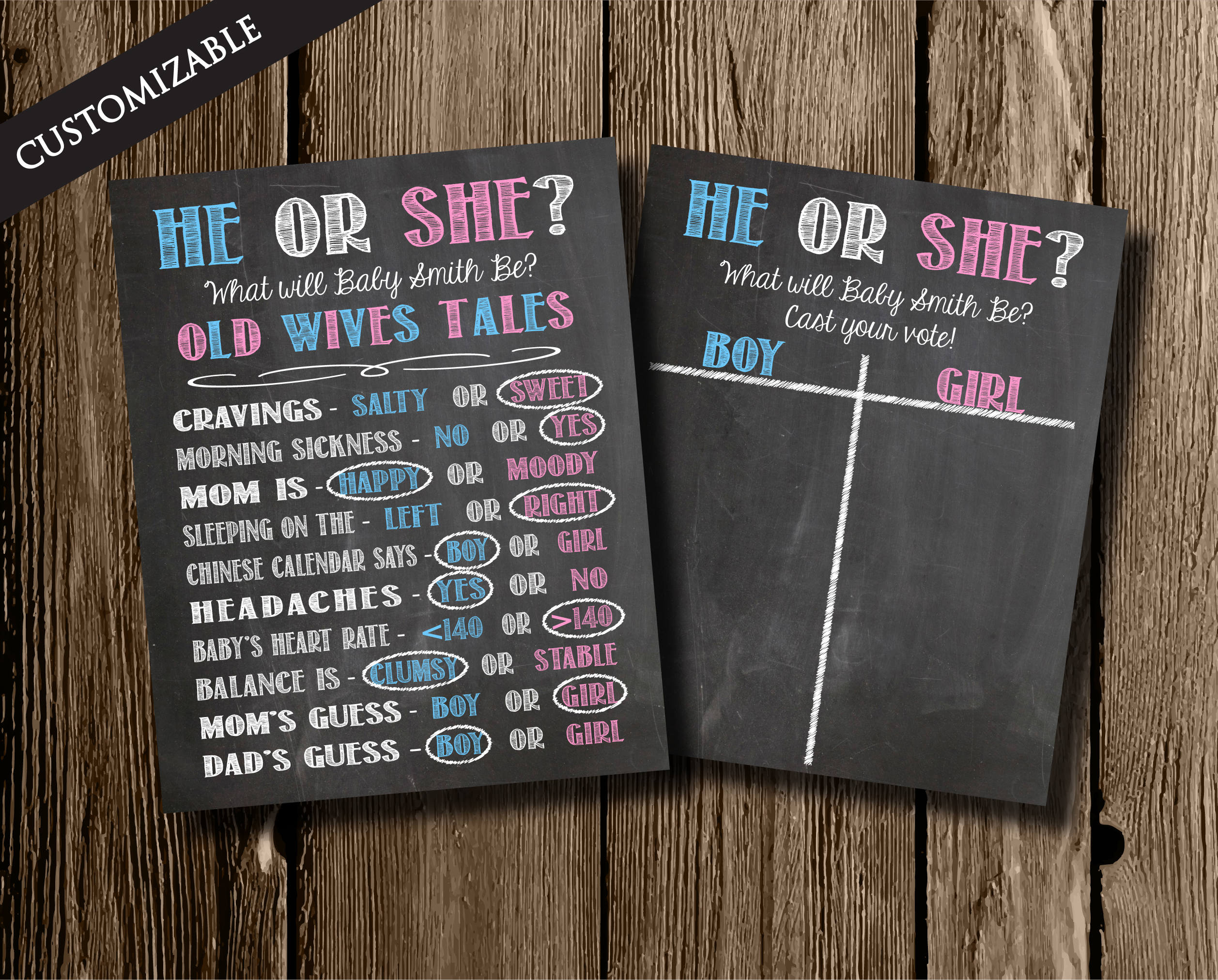 Chalkboard Style Gender Reveal Poster Old Wives Tales Poster