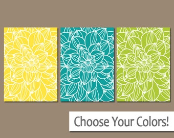 Flower Wall Art, Large Flower Bedroom Pictures, Yellow Turquoise Lime, CANVAS or Prints, Floral Bathroom Decor, Set of 3 Home Decor Pictures